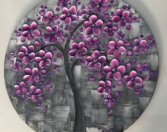 """ORIGINAL Abstract Art, Palette Knife impasto painting, Cherry Blossom Tree Painting,  20"""" Round Canvas wall art, Textured art"""