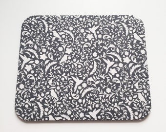Hummingbird Mousepad in Charcoal Gray Floral with Hummingbirds Teacher Gift, Coworker Gift, Desk Accessories, Mouse Mat, Mouse Pads