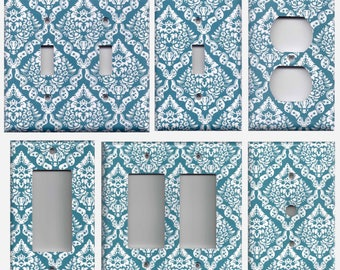 Teal/Turquoise Blue & White Intricate Damask Light Switch Plates and Wall Outlet Covers Elegant Home Decor Accents Light Switch Covers