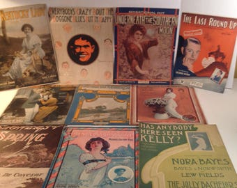 10 Pieces of Old 1900's Sheet Music--- Songs of That Era