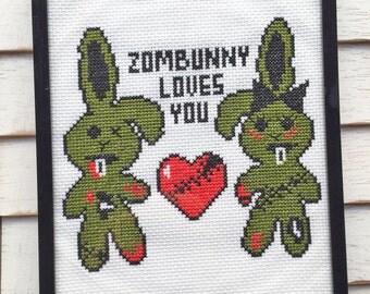 Zombunny Loves You Zombie Bunny Rabbit Cross Stitch Pattern Download Intermediate