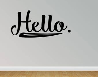 Wall Decal Hello Vinyl Lettering Entry Way Home Decor Removeable Vinyl Wall Art Graphic Stickers Decals (PC347)