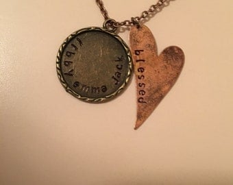 Hand-Stamped, Custom, Handmade, Vintage Inspired Heart Necklace