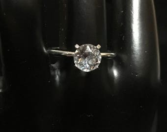 Uncas Silver Plated Cubic Zirconia Solitaire Ring