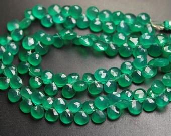 8 Inch Strand,Superb-GREEN ONYX Faceted Heart Shape Briolettes,6.5-7mm size,Superb Item