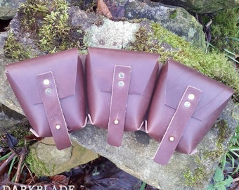 Triple Ammo Pouch in Leather for Steampunk, Larp and Cosplay