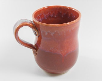 Pottery coffee mug  - ceramic coffee mug - plum coffee mug - maroon coffee cup - pottery mug - tea mug M100