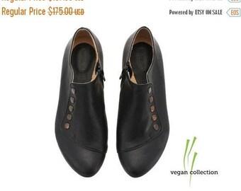 ON SALE Vegan handmade black flat shoes, by Tamar Shalem on etsy