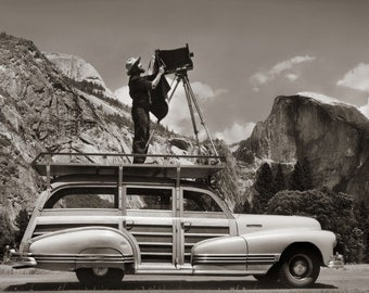 Ansel Adams, Standing on car, Ahwahnee Meadow, Yosemite, Half Dome, clouds, mountains, black & white photo, fine art print poster canvas