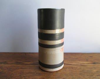 Vintage Tall Black and Pink Ceramic Vase