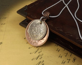 """1967 Stacked Coins Ha'penny and Sixpence Necklace on 18""""  Silver Plated Chain, Coin Jewellery, 50th Birthday Gift"""
