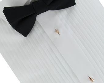 Men's Metal Shirt Studs - Set of 6 Studs Gold Tone or SIlver Tone or Rose Gold Tone USA Made Upcycled Weddings Groomsmen