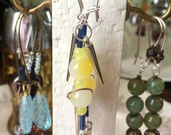 Yellow & Blue Glass Beaded Silver Dangle Earrings