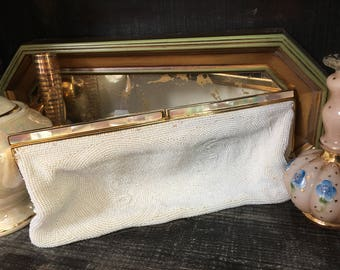 Vintage La Regale White Beaded Clutch Mother of Pearl Clutch