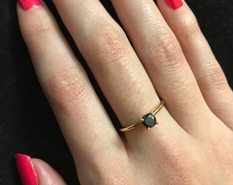 Solid 14K Gold Black Diamond Ring- Solitaire Real Black Diamond Ring