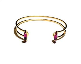 Swarovski Crystal Double Cuff, Wire Cuff, Gold Cuff
