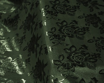 Dark Hunter Green Floral Jacquard Brocade Satin Fabric By the Yard Style 3006