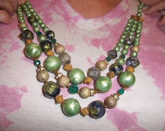 Vintage  Green and Gold Beaded Necklace, Triple Strand, 417S