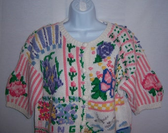 Vintage Eagle's Eye Spring Pastel Pink Green Flowers Buttefly Hand Knit Cotton Novelty Cardigan Sweater Large