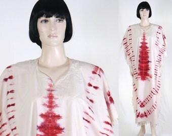 Vintage Women's African Print Kaftan - Caftan - Tie Dye - Long Kaftan - Size Medium / African Print - Red/Purple/White