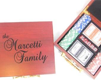 Personalized Poker Gift Set LASER Engraved Poker Set, Game Set, Poker Chip Cards, Custom Poker Set Wedding Gift , Groomsmen - Bridesmaids