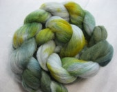 Castle Walls - merino roving in grey, green and yellow