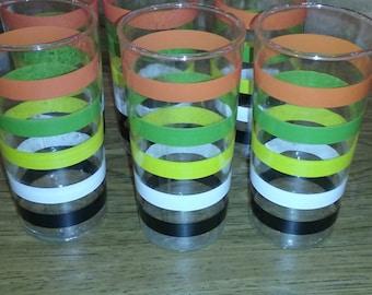 Anchor Hocking Set of 6 glasses Fiesta Pattern