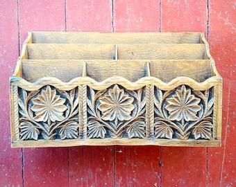 Vintage Lerner Brown Wood Look Plastic Mail Caddy for Desk/Table