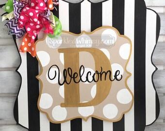 SWITCHABLE SPARKLE: Monogram Year Round Door Decor, Year Round Welcome Sign, All Season Door Decor, Seasonal Door Hanger, Wood Door Hanger