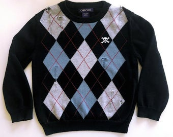 4t-Distressed Sweater-Skull Patch-Argyle-Punk-