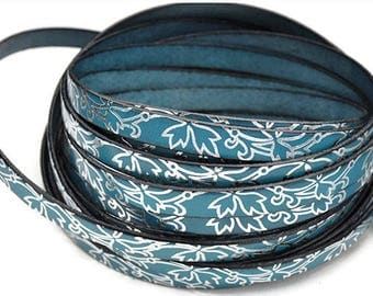 """10MM Flat Turquoise Leather w/silver floral leaf - 2ft/24""""  - Turquoise/Silver - Best Quality European Leather Cord"""