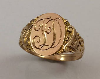 Art Deco 10Kt Yellow Gold Swirling Initial  Ring Circa 1920
