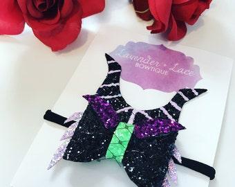 The Maleficent Glitter Bow Headband or Clip