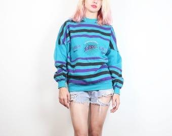 Vintage 1990s Sweatshirt Teal Green Purple Striped Embroidered IOU Brand Sweatshirt 90s Jumper Long Sleeve Tshirt Sweater Soft Grunge M L