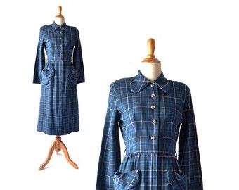 Wool Dress 1940s Dress 40s Dress Blue 1930s Dress 30s Dress Winter Dress Plaid Long Sleeve Dress Vintage 1930s Vintage 30s Vintage Dress