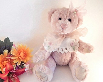 "Teddy Bear Stuffed Animal Pink Plush 13"" Jointed Victorian Bear Gund Bartons Creek Hildegard Gunzel Collectible"