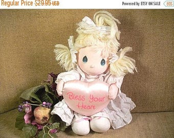 """Precious Moments 15"""" Doll Pink Satin Bless Your Heart Pillow Vintage 1985 Keepsake from Applause Valentine's Day Gift Doll"""