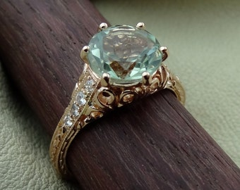 14K Rose Gold Green Aquamarine Color Amethyst with Diamonds Engagement Ring Vintage / Antique Style