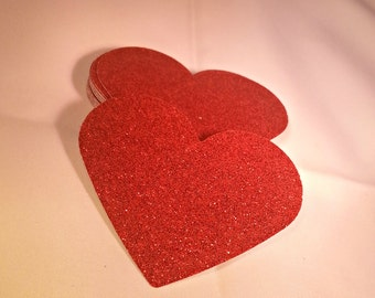 50 - 3 inch  Red Glitter Heart Die Cuts, Wedding Heart Diecuts, Red Heart Cut Outs, Baby Shower Prom Birthday Party decor