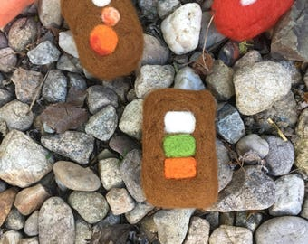 Felted soap with beige-green-orange boxes