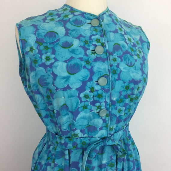 1950s dress fit flare vintage 50s day dress full skirt UK 14 new look style early 1960s pin up blue flowery Mod St Michael cotton