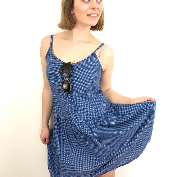 vintage polka dot dress blue white spotted cotton strappy sundress loose fit drop waist spotty UK 8 US 4