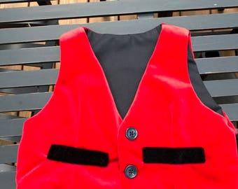 Red Velveteen Toddler Boys Vest - Size 2 Christmas Vest Toddler