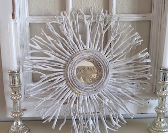 White twig Branch FARMHOUSE Nordic white chippy MIRROR ...Unique!