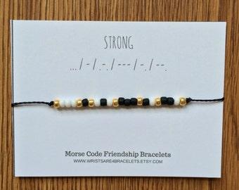 STRONG Morse Code Bracelets - Custom Friendship Bracelet - Waterproof