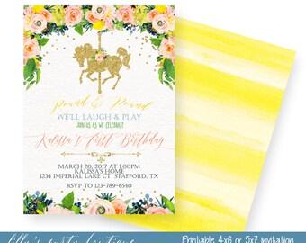 Carousel Birthday Invitation, Gold Glitter Carousel Invitation, Carousel Floral First Birthday Invitation- YOU PRINT