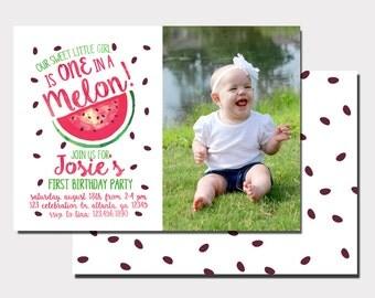 Watermelon Birthday Invitation |One In A Melon First Birthday Invitation |  Summer Birthday | Fruit Birthday Invitation | First Birthday