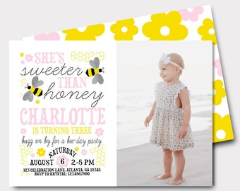 Bumble Bee Birthday Invitation | Bee Birthday Invitation | Honey Bee Invitation | Sweeter Than Honey | Bee Day Party |  First Birthday