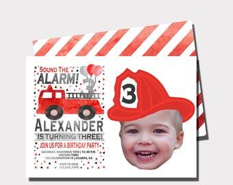 Firetruck Birthday Invitation | Fireman Birthday Invitation | Sound The Alarm | First Birthday | Second Birthday