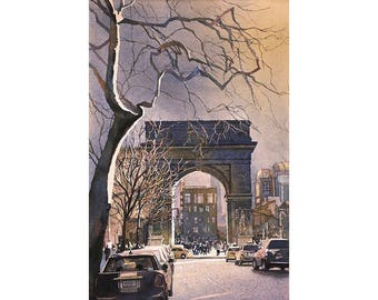 Watercolor painting of Triumphal Arch in Washington Square- New York City, New York (USA).  Original watercolor painting New York wall art